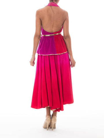 1970S Giorgio Sant'angelo Pink & Purple Wool Jersey Ombré Dyed Halter Top Skirt Gown Ensemble With Gold Lurex Trim