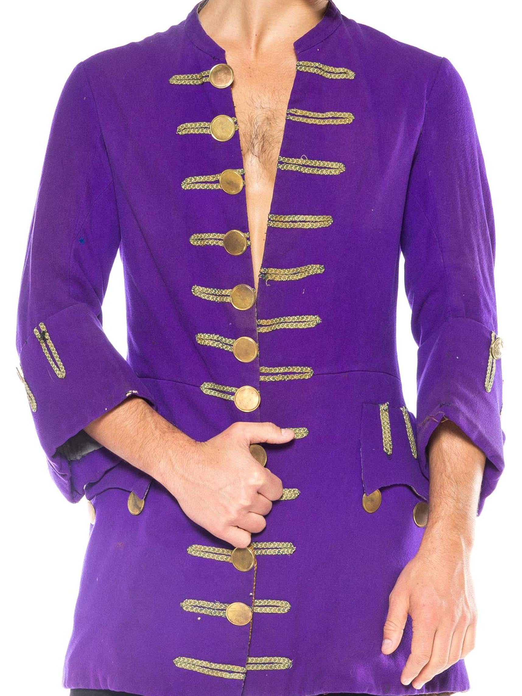 Victorian Purple Wool Men's Frock Coat With Authentic 18Th Century Buttons
