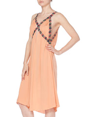 Peach jersey grecian cutout floral trim dress