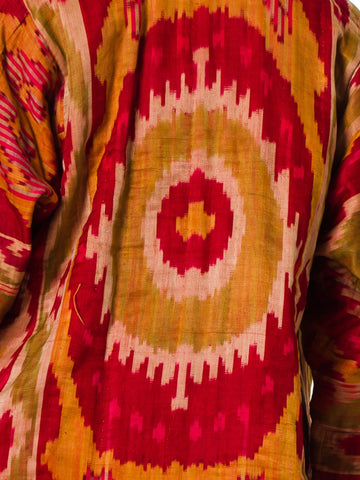 1920S Cotton Antique 18Th Century Uzbekistan Ikat Zigzag Woven Chapan Rope With Floral Lining Reshoot