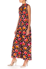 1960s Floral And Dot Printed Jumpsuit