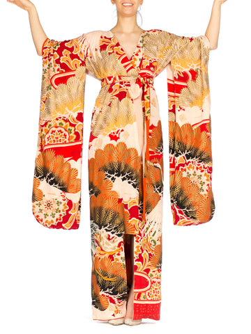 1930S Morphew Collection Silk Antique Hand Painted Dress