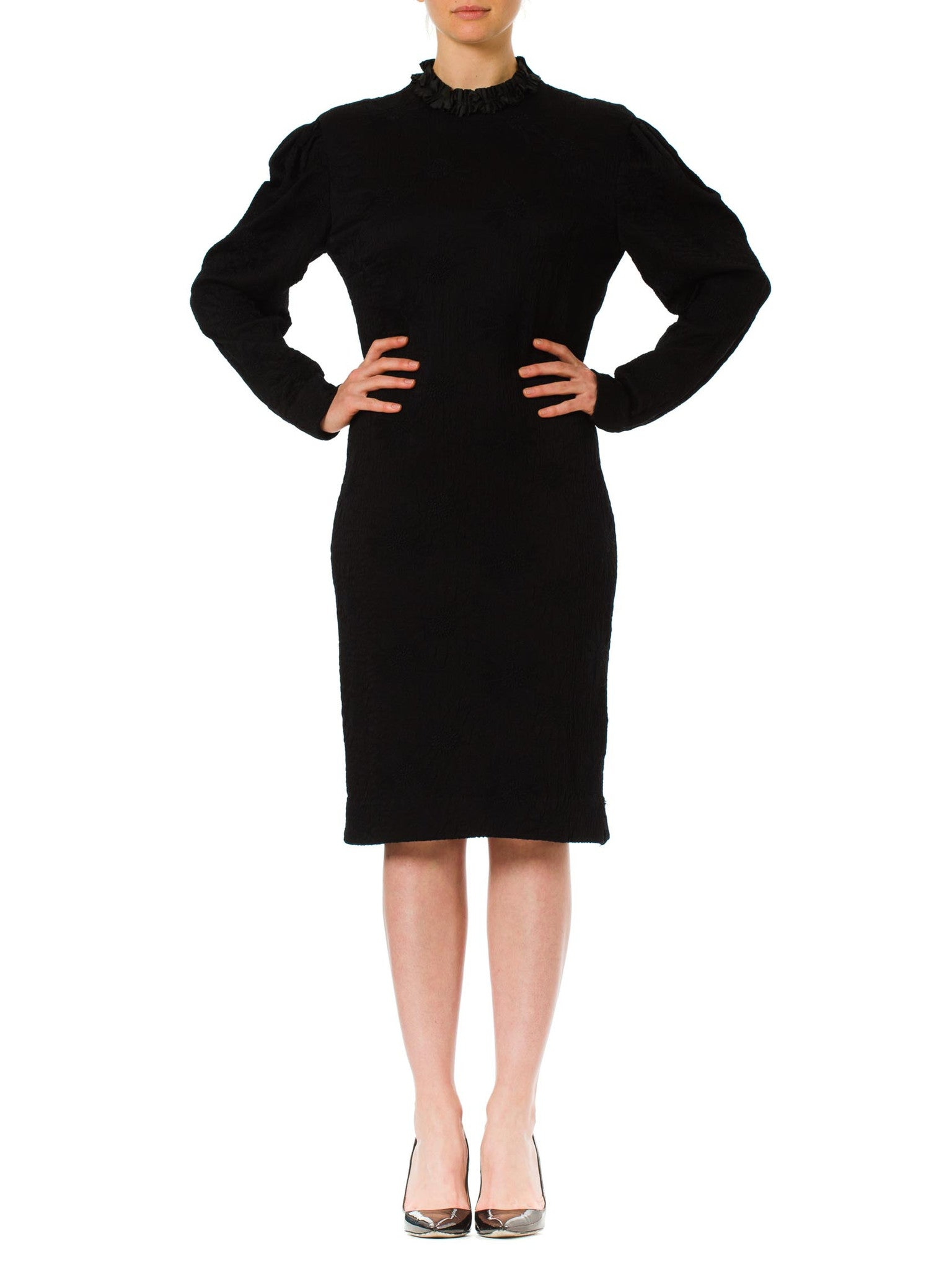 1960s Mod Louis Féraud Embroidered Floral Jacquard Long Sleeve Black Dress