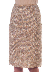 1990s Bill Blass Couture Silk Skirt Beaded with Leather Sequins