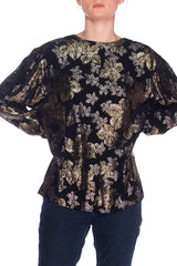 1970s Black Top with Metallic Flowers