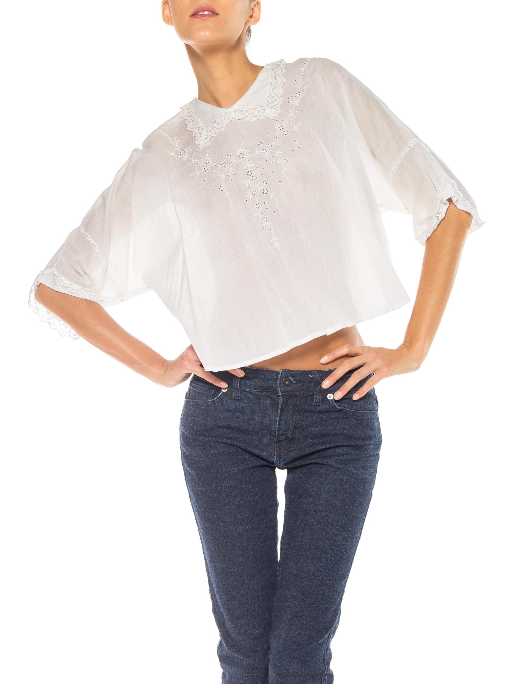 Edwardian White Cotton Voile Entirely Hand-Sewn & Embroidered Oversized Blouse With Cute Collar