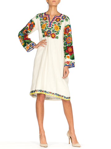 Antique Cotton Ethnic Tunic Dress with Heavy Multicolored Beading