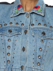 2000S Morphew Collection Cotton Chrome Studded Denim With Embroidery And Patch Beaded Bird Jacket