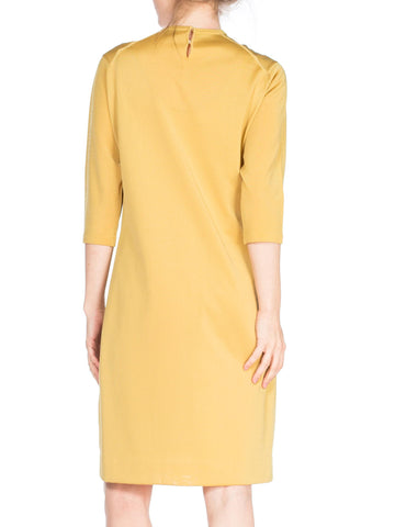 1960S Yellow Poly Blend Knit Long Sleeved Shift Dress