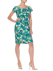 1950s Floral Cotton Dress with Draped Bodice