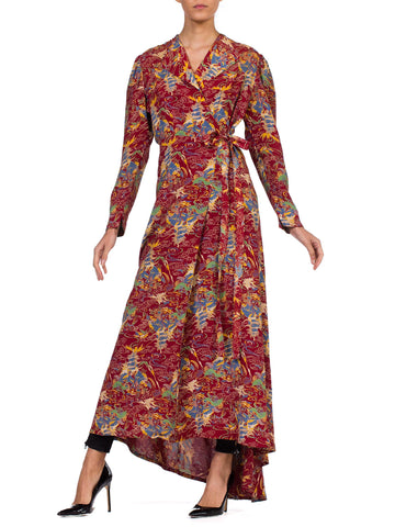 Rare 1940s Cold Rayon Asian Printed Robe