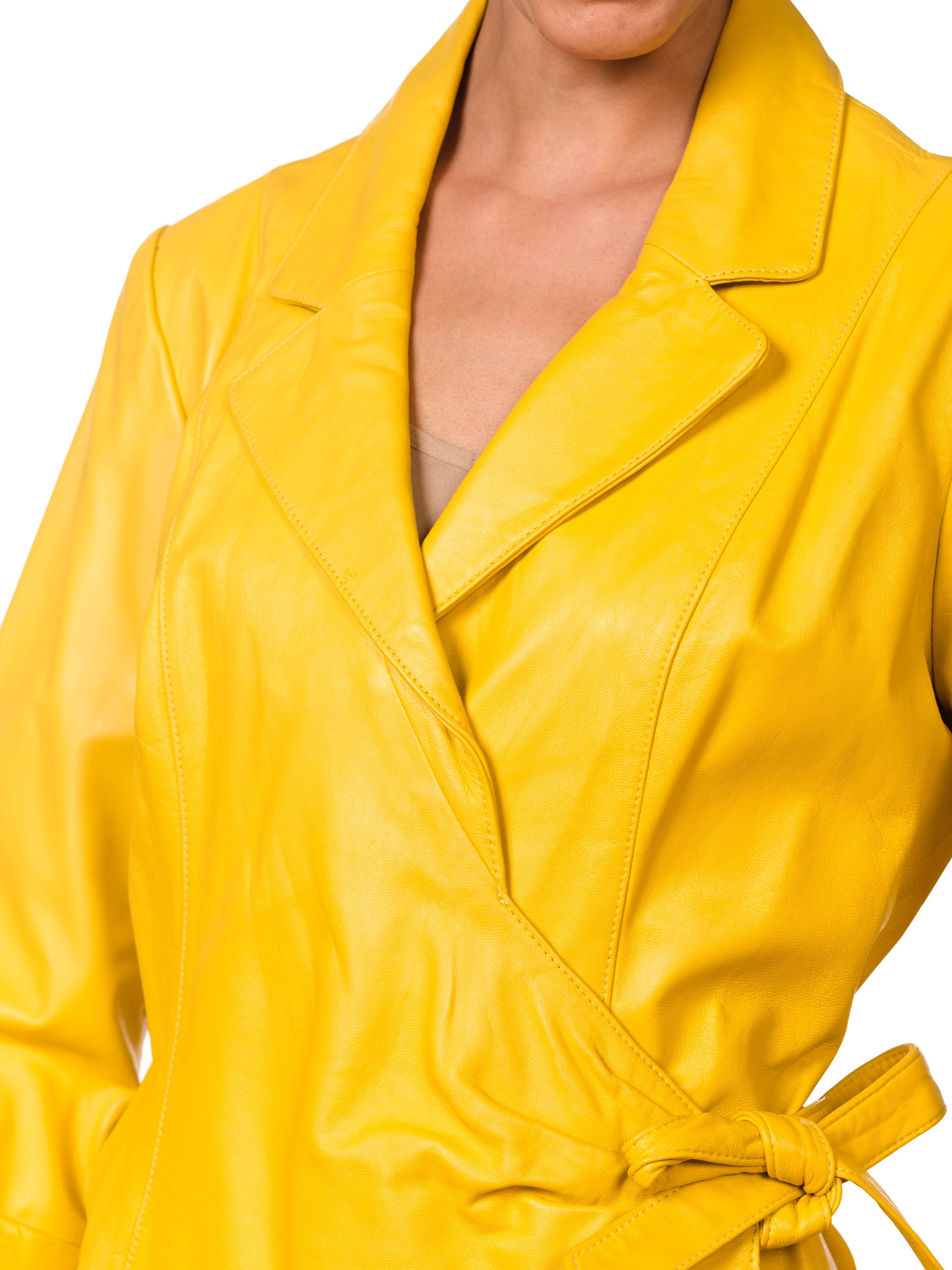 Yellow Leather JAcket with tie front detail