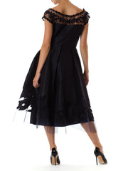 1950s Net Detail Short Sleeve Rockabilly Evening Dress