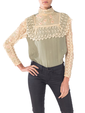 Green Silk Logo Gucci GG Victorian Floral Lace Sleeve Blouse