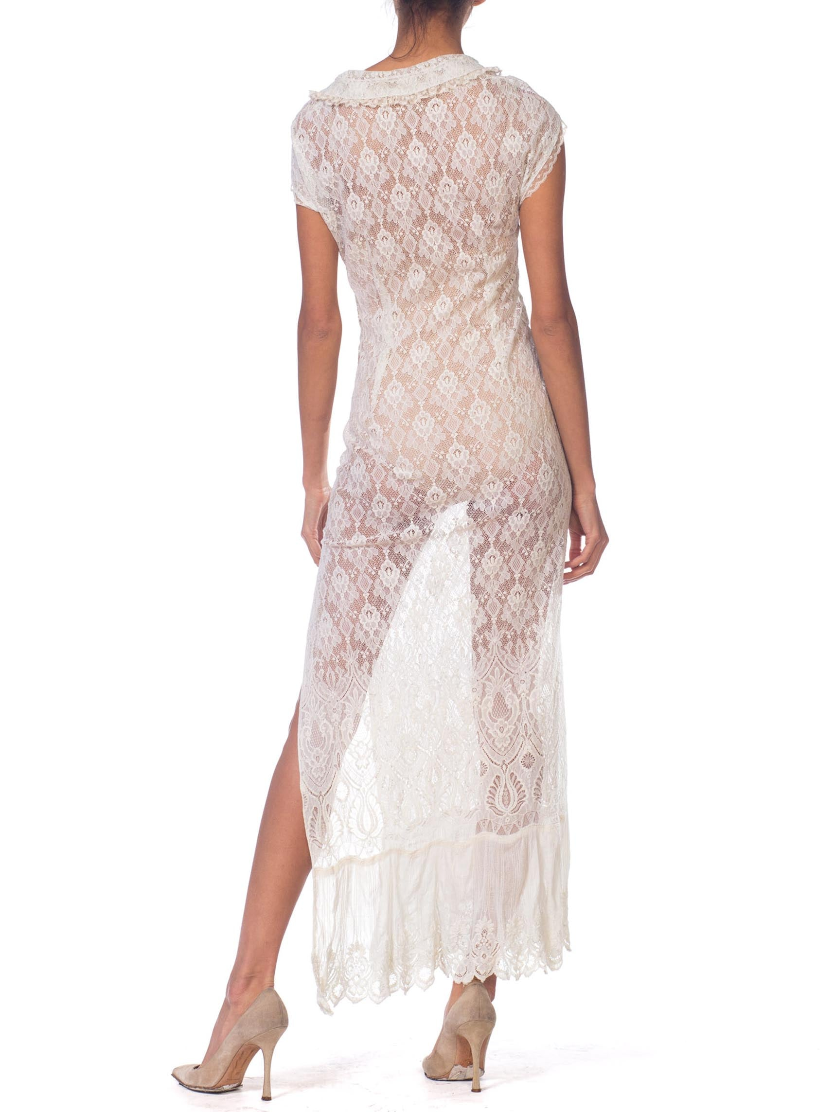 Morphew Collection White Maxi Resort Dress Made From Edwardian & 1930'S Lace