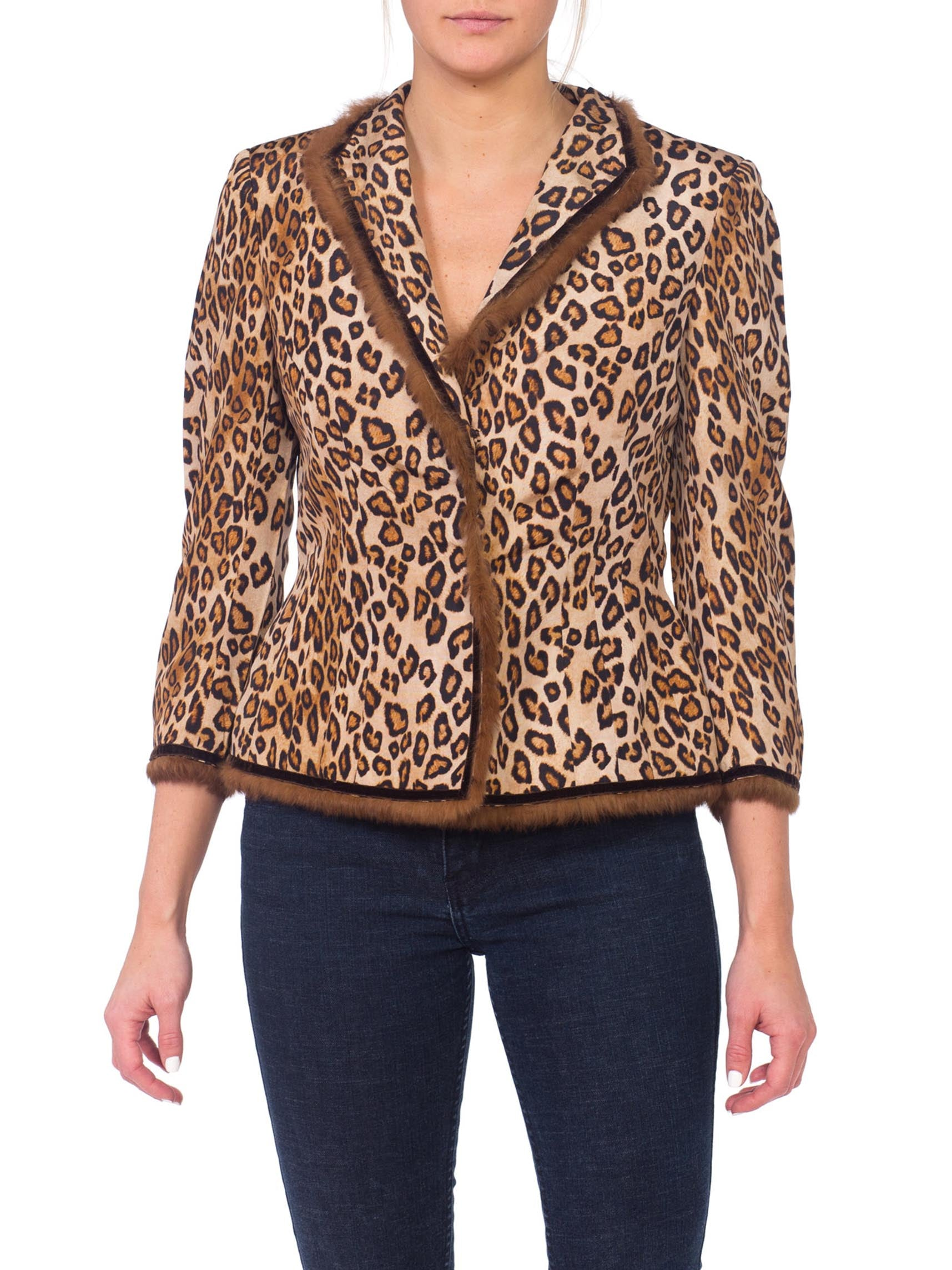 Alexander McQueen Silk Leopard Jacket with Fur & Velvet Trim