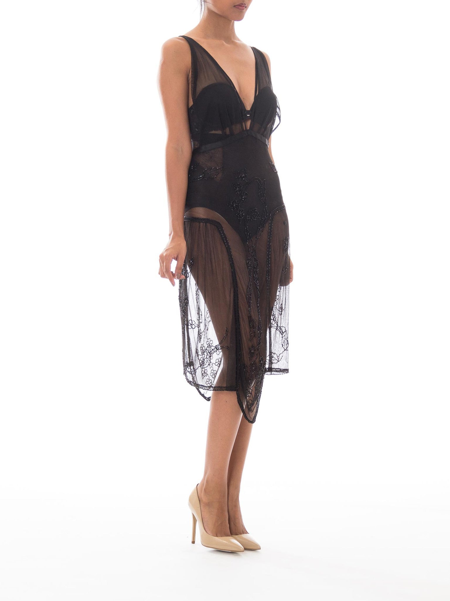 MORPHEW COLLECTION Black Hand Beaded Silk Tulle Sheer Dress Made W/ Edwardian Lace From 1910