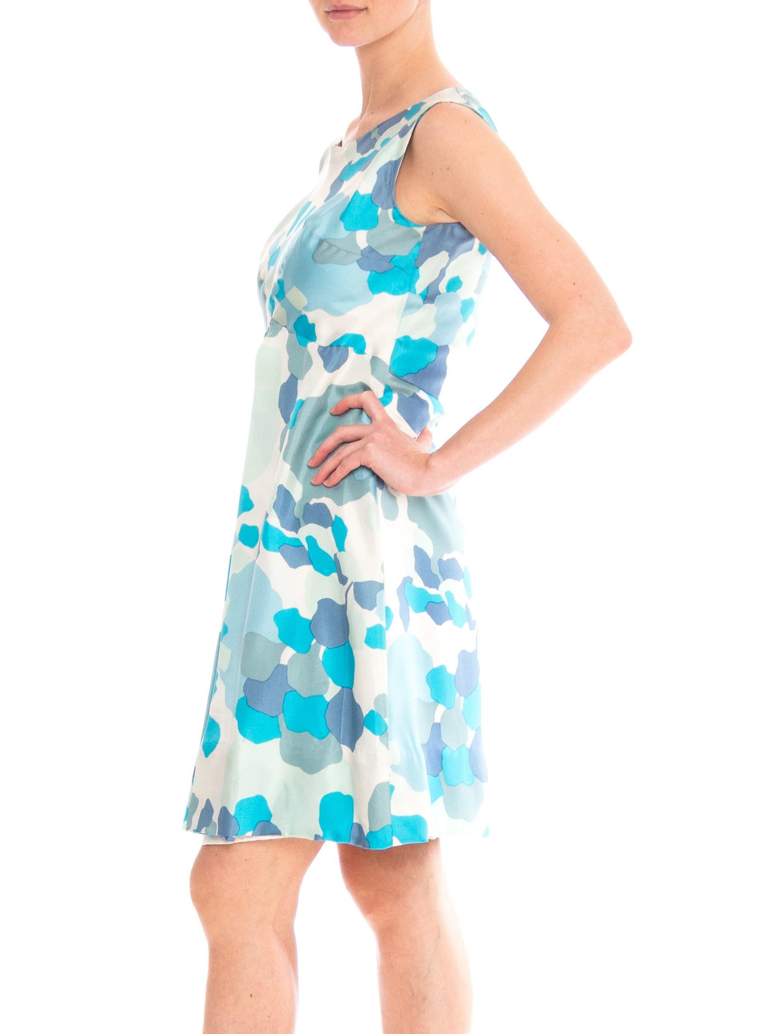 1950S Blue & White Silk Twill Abstract Printed Mod Mini Dress