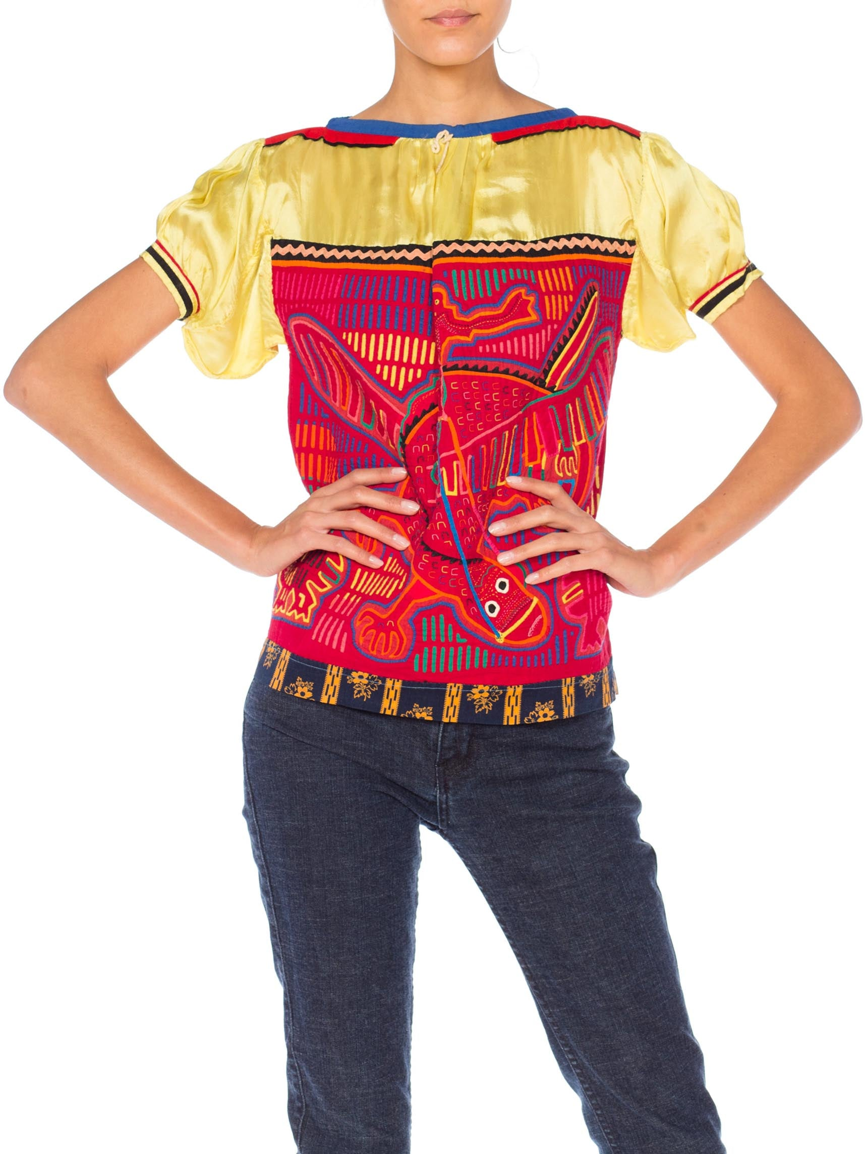 1960S Red & Yellow Cotton South American Top Appliquéd With Lizard And Birds