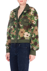 1960s Military inspired Floral  Wool Knit Jacket from France