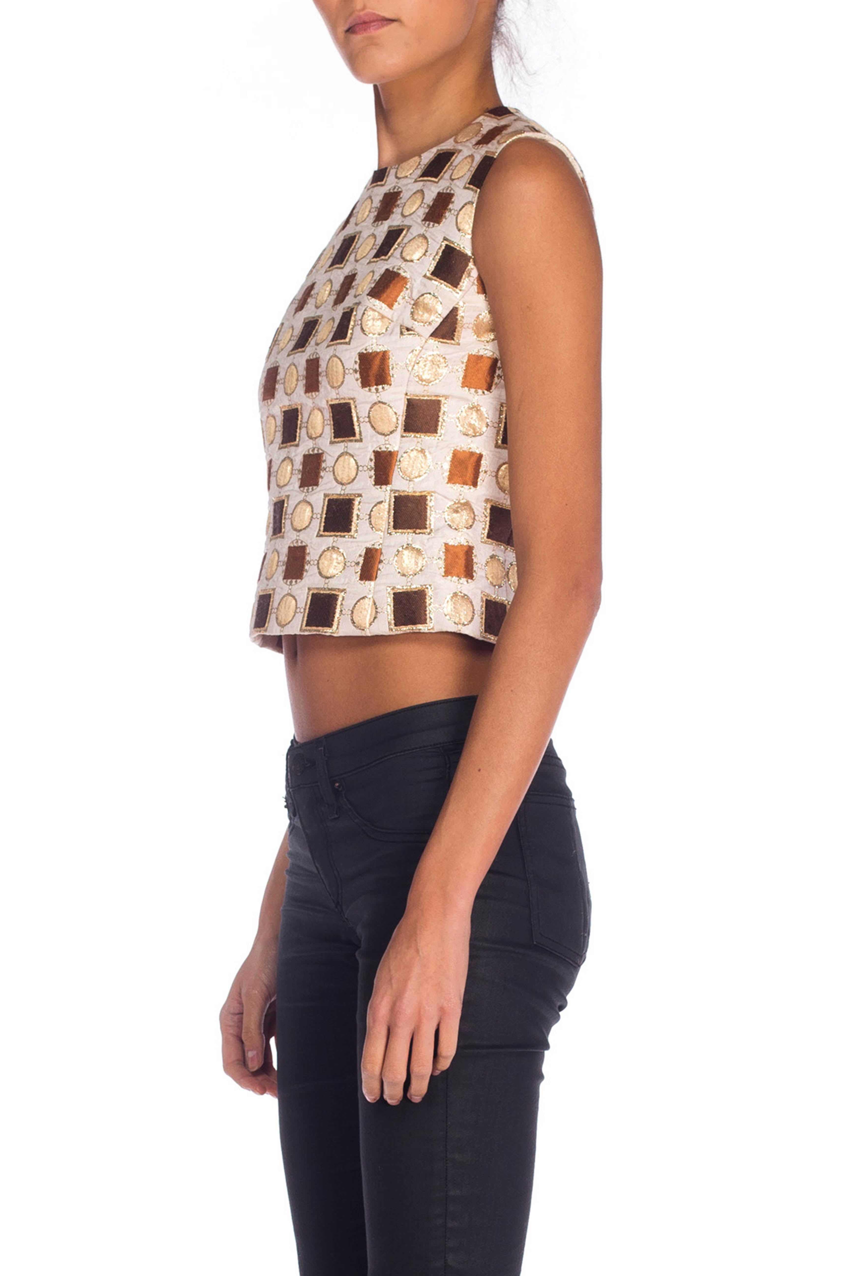 1960S Haute Couture Silk Lurex Damask Geometric Gold Shell Top From Paris