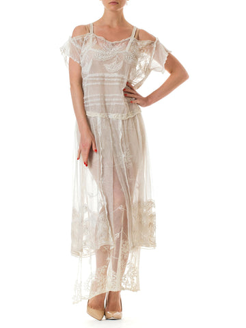 Morphew Lab White Embroidered Sheer Strapless Maxi Dress Made with Victorian Net and Lace