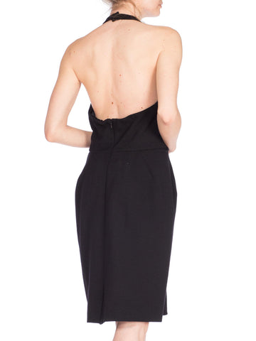 1980S DONNA KARAN Black Wool Knit Low Cut Cocktail Dress
