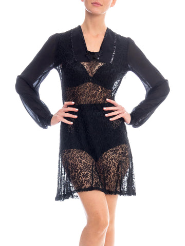 1930S Black Silk Chiffon & Lace Mini Dress