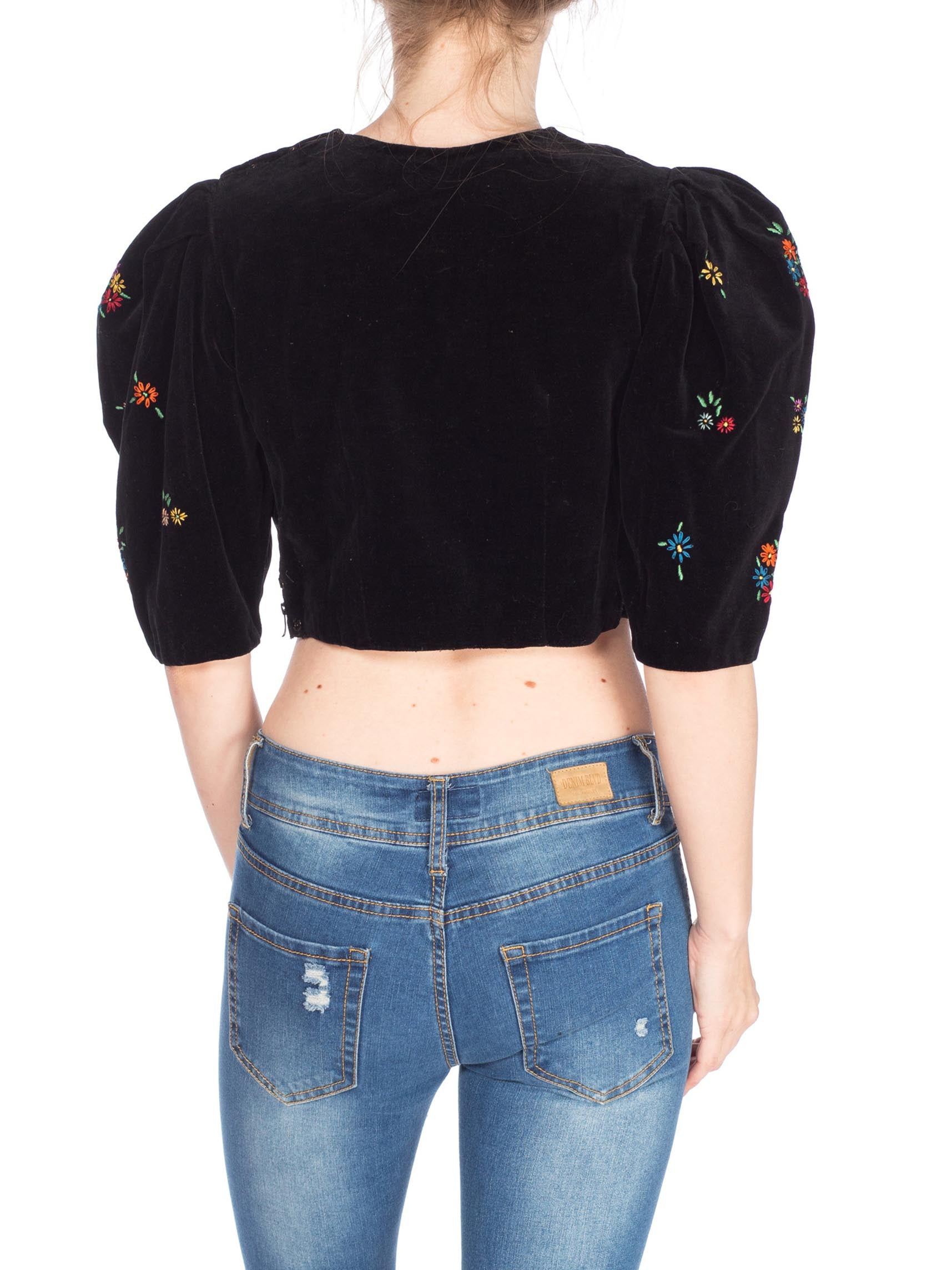 1940S Black Cotton Velvet  Top With Floral Embroidery & Red Wood Buttons