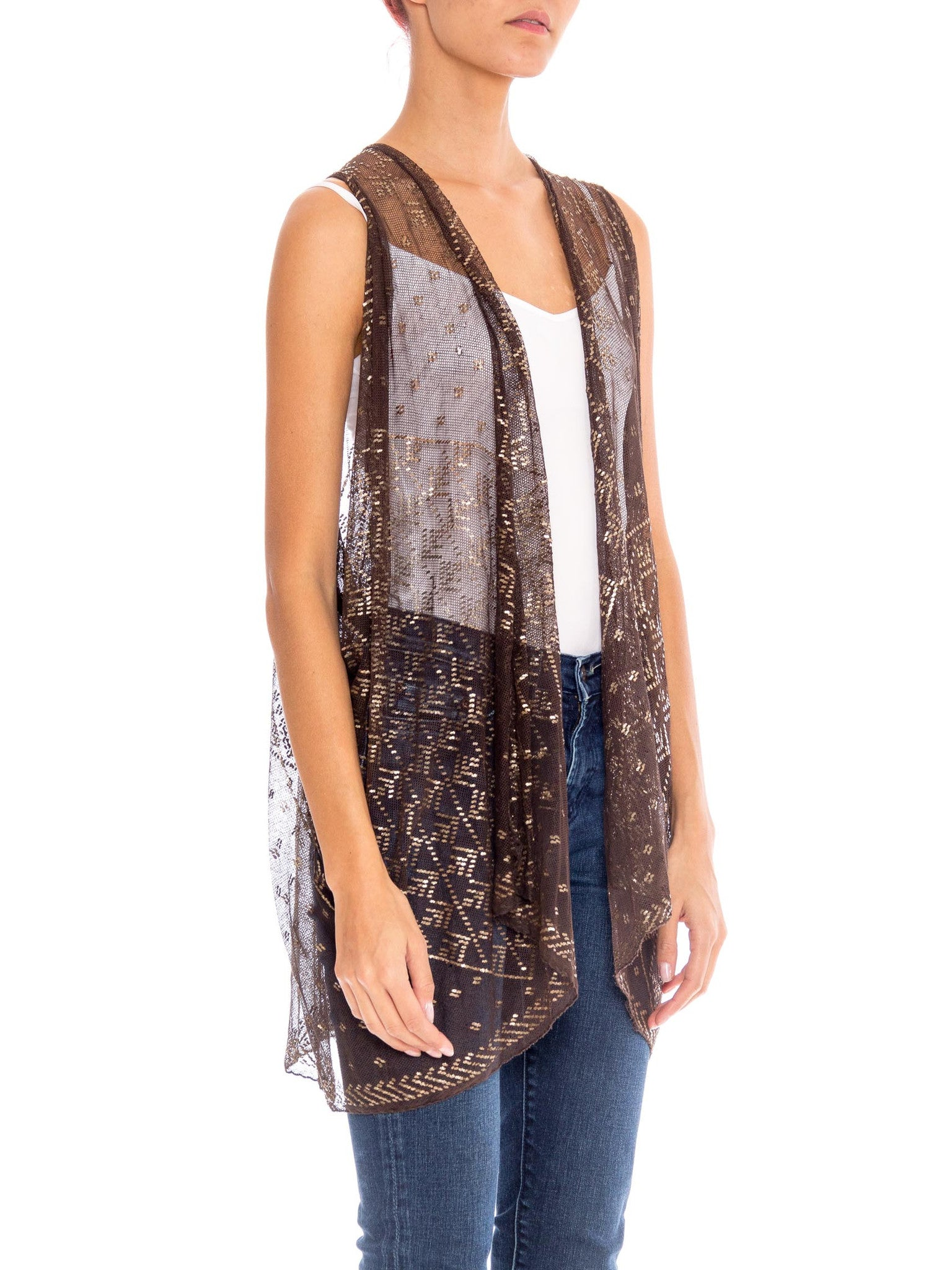 MORPHEW COLLECTION Chocolate Brown & Silver Egyptian Assuit Sheer Draped Vest