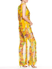 1960s Silk Chiffon Ruffled Jumpsuit