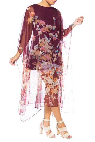 1970S Polyester Chiffon Sheer Asian Floral Print Kaftan Dress