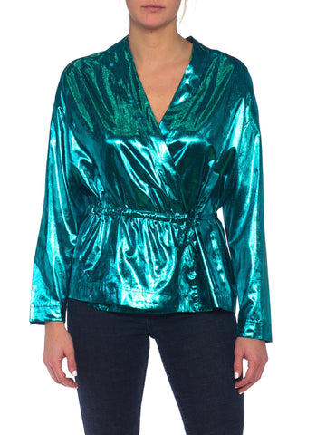1980s Gucci Style Blue Lame Disco Top