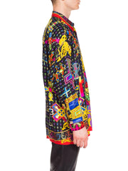 1990s Men's Gianni Versace Baroque Silk Shirt With Crosses