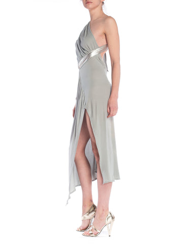 MORPHEW COLLECTION Seafoam Grey Silk Jersey Draped Cut-Out Cocktail Dress