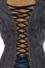 1990S Jean Paul Gaultier Grey Cotton Denim Jacket Top With Corset Laced Back