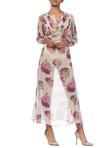 Sheer Silk 1920s Floral Chiffon Dress