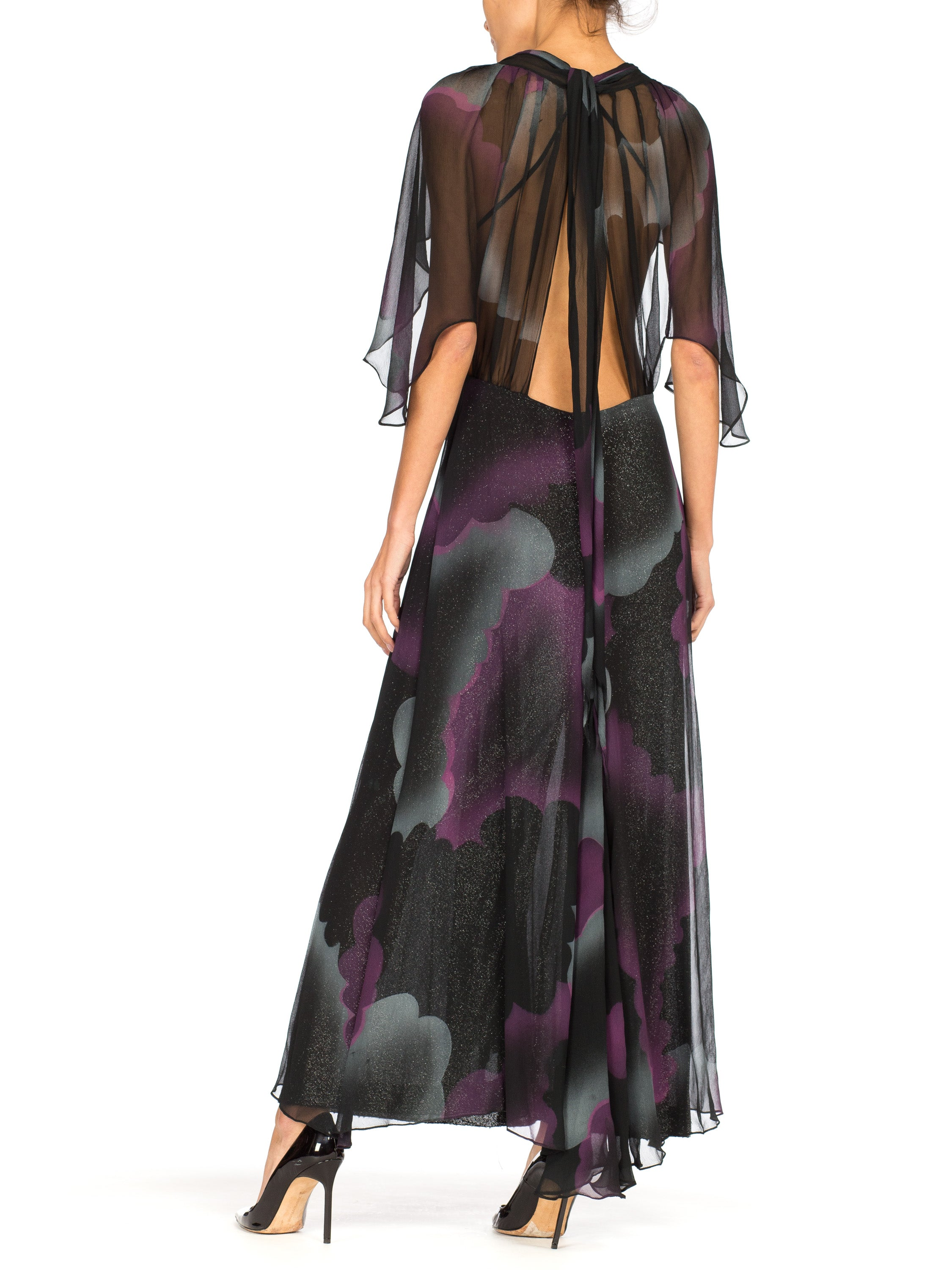 Morphew Collection Black Metallic Silk & Lurex Chiffon Low Cut Stormy Flutter Sleeve Gown