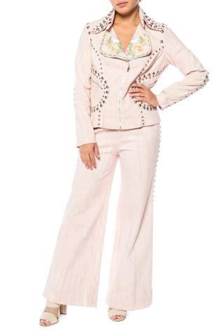 Roncelli Studded Denim Suit With Added Embroidered Trims And Ribbon
