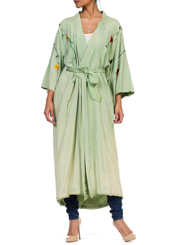 1940S Mint Green Hand Embroidered Rayon Blend Kimono With Antique Patina