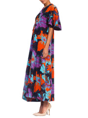 1960's Psychedelic Terry Cloth Maxi Dress Cover Up