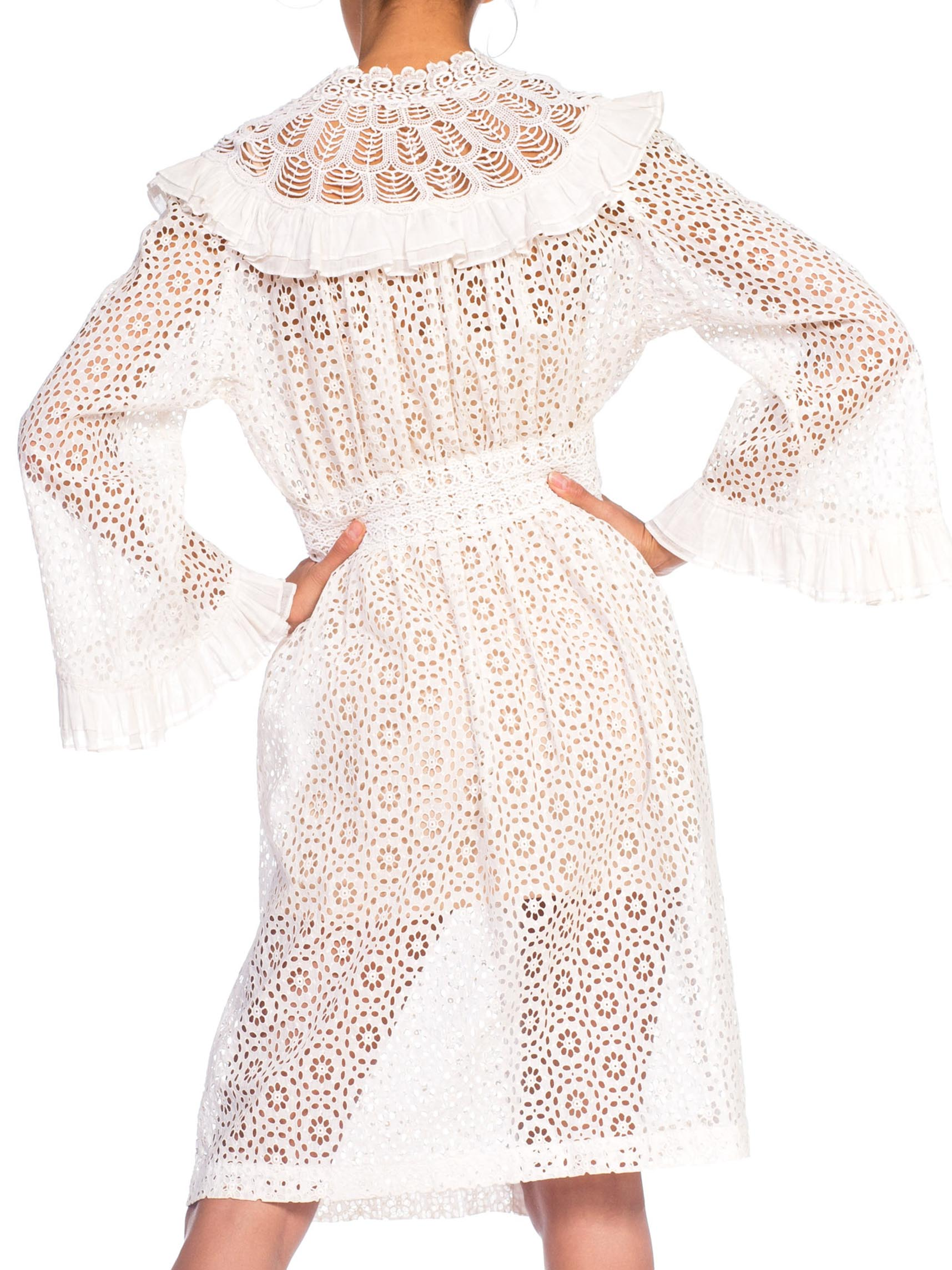 Morphew Collection White Organic Cotton Belle Sleeve Dress With Ruffle Detail Made From Victorian Eyelet Lace Duster