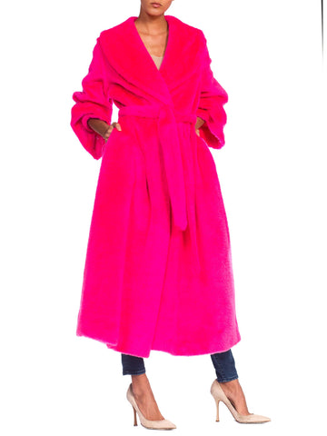 1960's I Magnin Neon Hot Pink Faux fur Wrap Coat