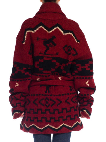 1980S Polo Ralph Lauren Burgundy & Black Wool Hand Knit Ski Theme Belted Shawl Cardigan Sweater