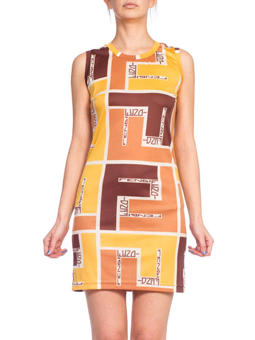 1960s Fendi Silk Jersey Mod Style Mini Dress