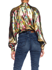 1980's Gold Lurex Blouse w/ Gold Floral Print