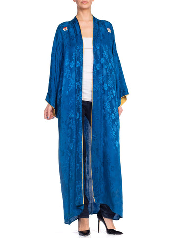 1940S Blue Japanese Rayon Floral Jacquard Kimono With Hand Embroidered Flowers