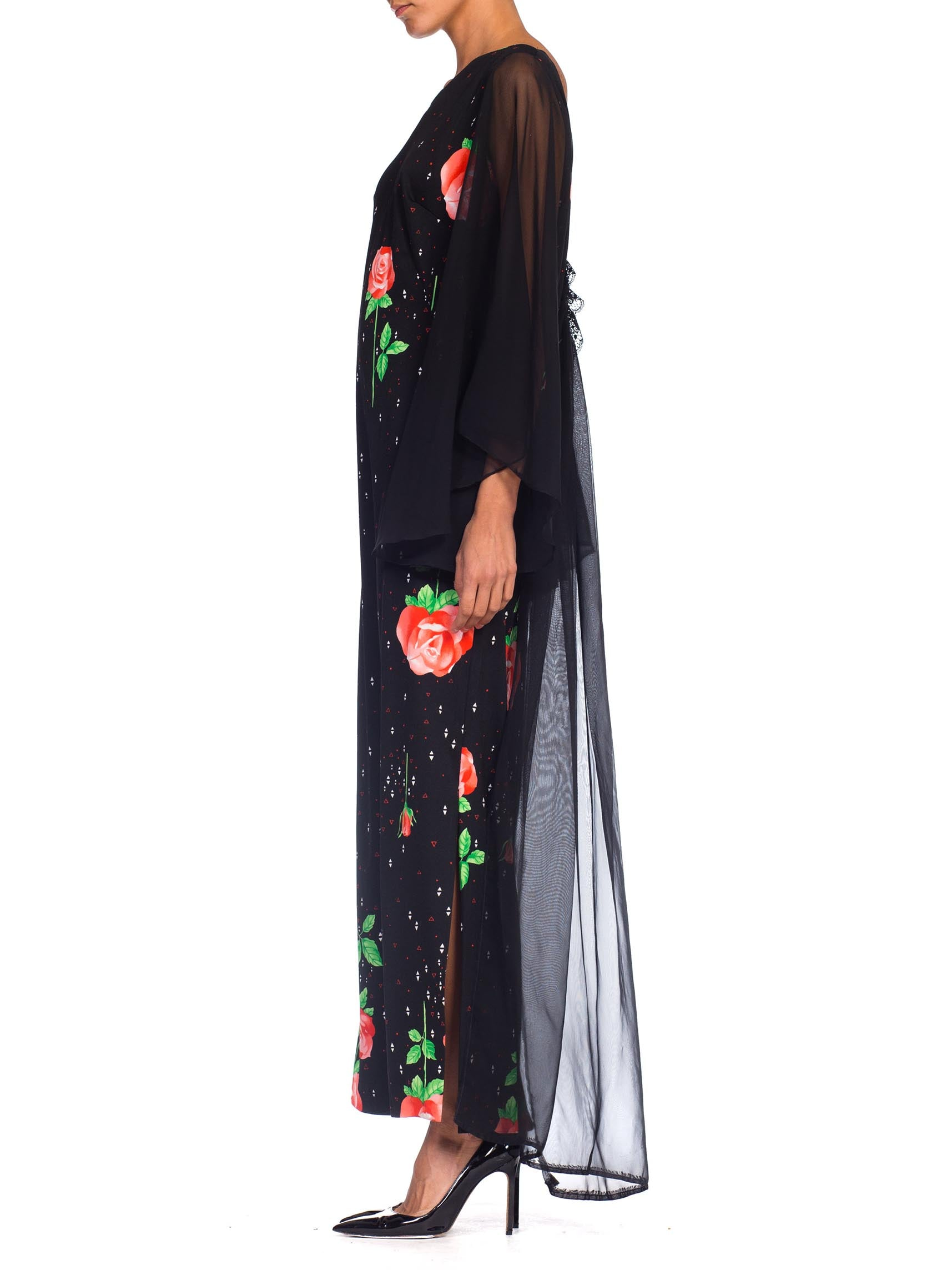 1970S Black Polyester Jersey Rose Print Maxi Dress W/ Chiffon Bell Sleeves & Cape, XL