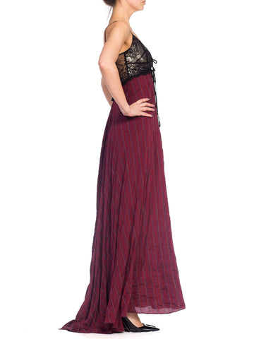Morphew Collection Silk & Lace Gown With Silver Metal Mesh Lined Bust Slight Train