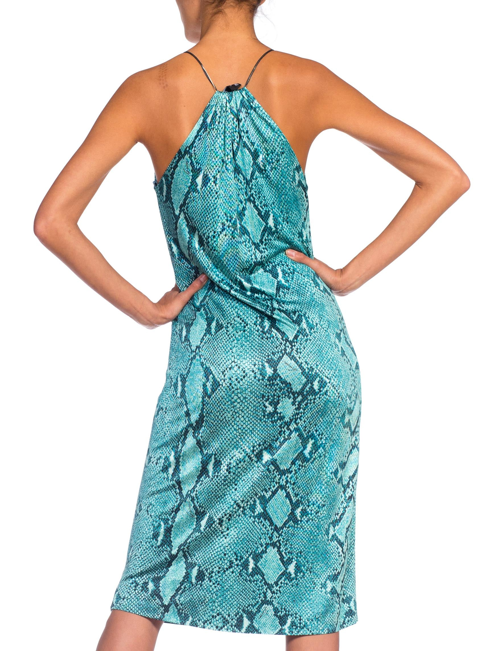 1990S TOM FORD GUCCI Iconic Teal Jersey Snake Print Dress